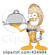 Royalty Free RF Clipart Illustration Of A Peanut Mascot Waiter With A Platter