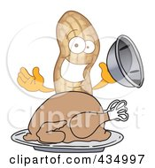 Peanut Mascot Serving A Roasted Turkey