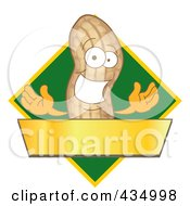 Peanut Mascot Logo With A Green Diamond And Gold Banner