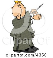 Male Music Conductor Directing A Musical Performance With A Conducting Baton Clipart by djart