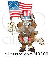 Clipart Illustration Of A Patriotic Uncle Sam Horse Waving An American Flag On Independence Day