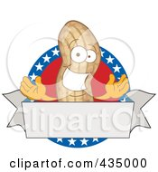 Royalty Free RF Clipart Illustration Of An American Peanut Mascot Logo With A Blank Banner