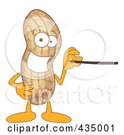 Royalty Free RF Clipart Illustration Of A Peanut Mascot Using A Pointer Stick