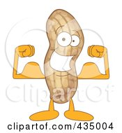 Royalty Free RF Clipart Illustration Of A Peanut Mascot Flexing