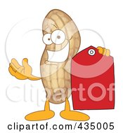 Peanut Mascot Holding A Red Price Tag