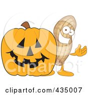 Peanut Mascot With A Halloween Pumpkin