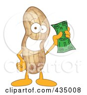 Royalty Free RF Clipart Illustration Of A Peanut Mascot Holding Cash