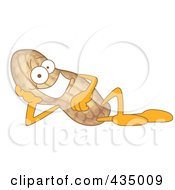 Royalty Free RF Clipart Illustration Of A Peanut Mascot Reclined