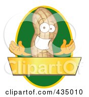 Peanut Mascot Logo With A Green Oval And Gold Banner