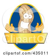 Royalty Free RF Clipart Illustration Of A Peanut Mascot Logo With A Blue Oval And Gold Banner