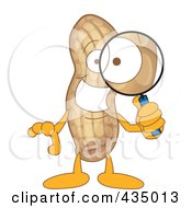 Peanut Mascot Using A Magnifying Glass