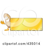 Royalty Free RF Clipart Illustration Of A Peanut Mascot Logo With A Gold Plaque