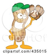 Royalty Free RF Clipart Illustration Of A Peanut Mascot Playing Baseball