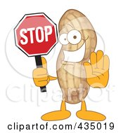 Royalty Free RF Clipart Illustration Of A Peanut Mascot Holding A Stop Sign
