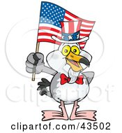 Patriotic Uncle Sam Seagull Waving An American Flag On Independence Day