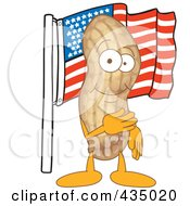 Royalty Free RF Clipart Illustration Of A Peanut Mascot With An American Flag