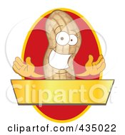 Peanut Mascot Logo With A Red Oval And Gold Banner