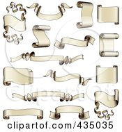 Royalty Free RF Clipart Illustration Of A Digital Collage Of Antique Scroll And Ribbon Banners by AtStockIllustration