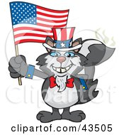 Clipart Illustration Of A Patriotic Uncle Sam Skunk Waving An American Flag On Independence Day by Dennis Holmes Designs