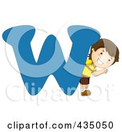 Royalty Free RF Clipart Illustration Of A Kid Letter W With A Little Boy