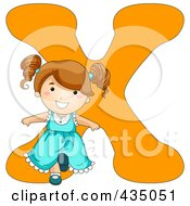 Royalty Free RF Clipart Illustration Of A Kid Letter X With A Little Girl