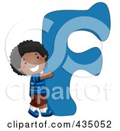 Royalty Free RF Clipart Illustration Of A Kid Letter F With A Little Boy