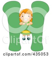 Royalty Free RF Clipart Illustration Of A Kid Letter H With A Little Girl