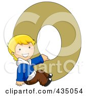 Kid Letter O With A Little Boy