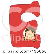 Royalty Free RF Clipart Illustration Of A Kid Letter E With A Little Girl