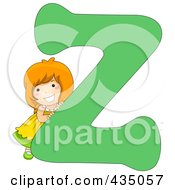 Royalty Free RF Clipart Illustration Of A Kid Letter Z With A Little Girl by BNP Design Studio