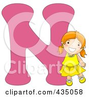 Royalty Free RF Clipart Illustration Of A Kid Letter N With A Little Girl