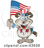 Clipart Illustration Of A Patriotic Uncle Sam Canine Waving An American Flag On Independence Day