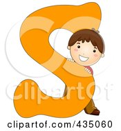 Royalty Free RF Clipart Illustration Of A Kid Letter S With A Little Boy by BNP Design Studio