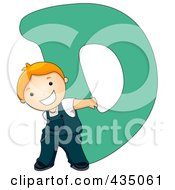 Royalty Free RF Clipart Illustration Of A Kid Letter D With A Little Boy by BNP Design Studio