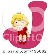 Royalty Free RF Clipart Illustration Of A Kid Letter J With A Little Girl by BNP Design Studio