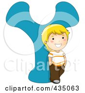 Kid Letter Y With A Little Boy