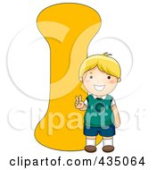 Royalty Free RF Clipart Illustration Of A Kid Letter I With A Little Boy by BNP Design Studio