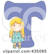 Royalty Free RF Clipart Illustration Of A Kid Letter T With A Little Girl by BNP Design Studio