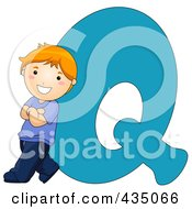Royalty Free RF Clipart Illustration Of A Kid Letter Q With A Little Boy