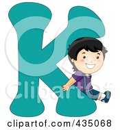 Royalty Free RF Clipart Illustration Of A Kid Letter K With A Little Boy