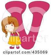 Royalty Free RF Clipart Illustration Of A Kid Letter V With A Little Girl