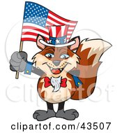 Clipart Illustration Of A Patriotic Uncle Sam Fox Waving An American Flag On Independence Day by Dennis Holmes Designs