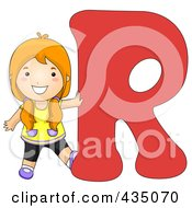 Kid Letter R With A Little Girl