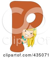 Kid Letter P With A Little Girl