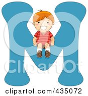Royalty Free RF Clipart Illustration Of A Kid Letter M With A Little Boy by BNP Design Studio