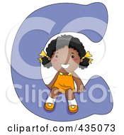 Royalty Free RF Clipart Illustration Of A Kid Letter C With A Little Girl by BNP Design Studio