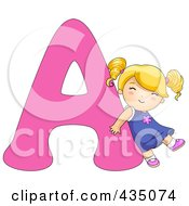 Royalty Free RF Clipart Illustration Of A Kid Letter A With A Little Girl by BNP Design Studio