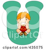 Royalty Free RF Clipart Illustration Of A Kid Letter U With A Little Boy by BNP Design Studio