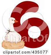 Royalty Free RF Clipart Illustration Of A Goose A Laying By A Red Number Six by BNP Design Studio