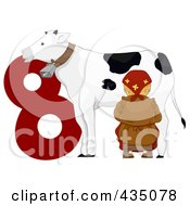 Royalty Free RF Clipart Illustration Of A Maid A Milking By A Red Number Eight by BNP Design Studio